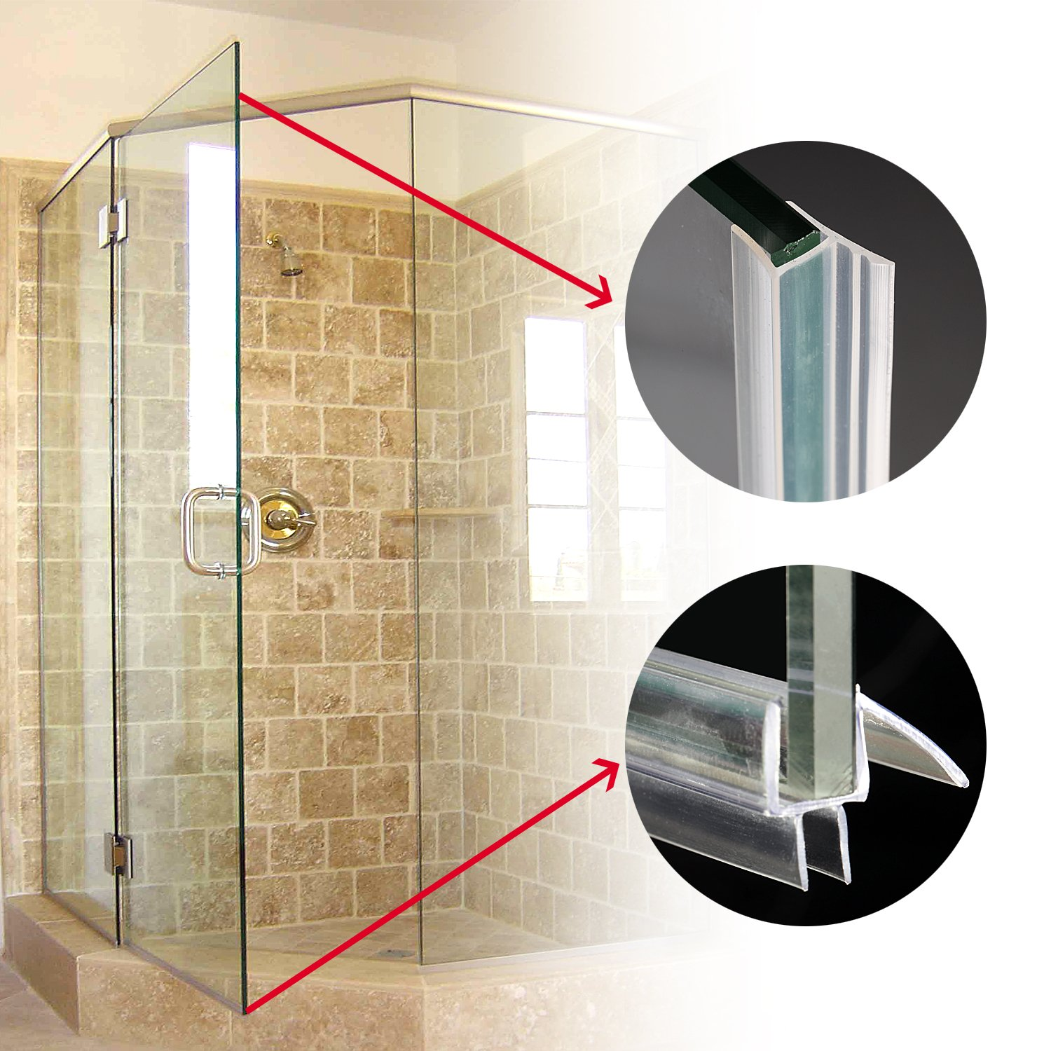 Shower Door Sweep, Frameless Glass Shower Weather Stripping for Door Bottom-36 Inch Length M-3/8 inch + 72 Inch Length H-3/8 inch (3/8 inch(10mm), M+h-Type) by MAGZO (Image #5)