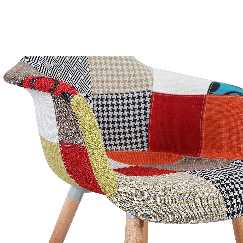 WOLTU/® BH37mf-1 Esszimmerstuhl 1 St/ück Esszimmerstuhl mit Lehne Design Stuhl K/üchenstuhl Holz Leinen Mehrfarbig