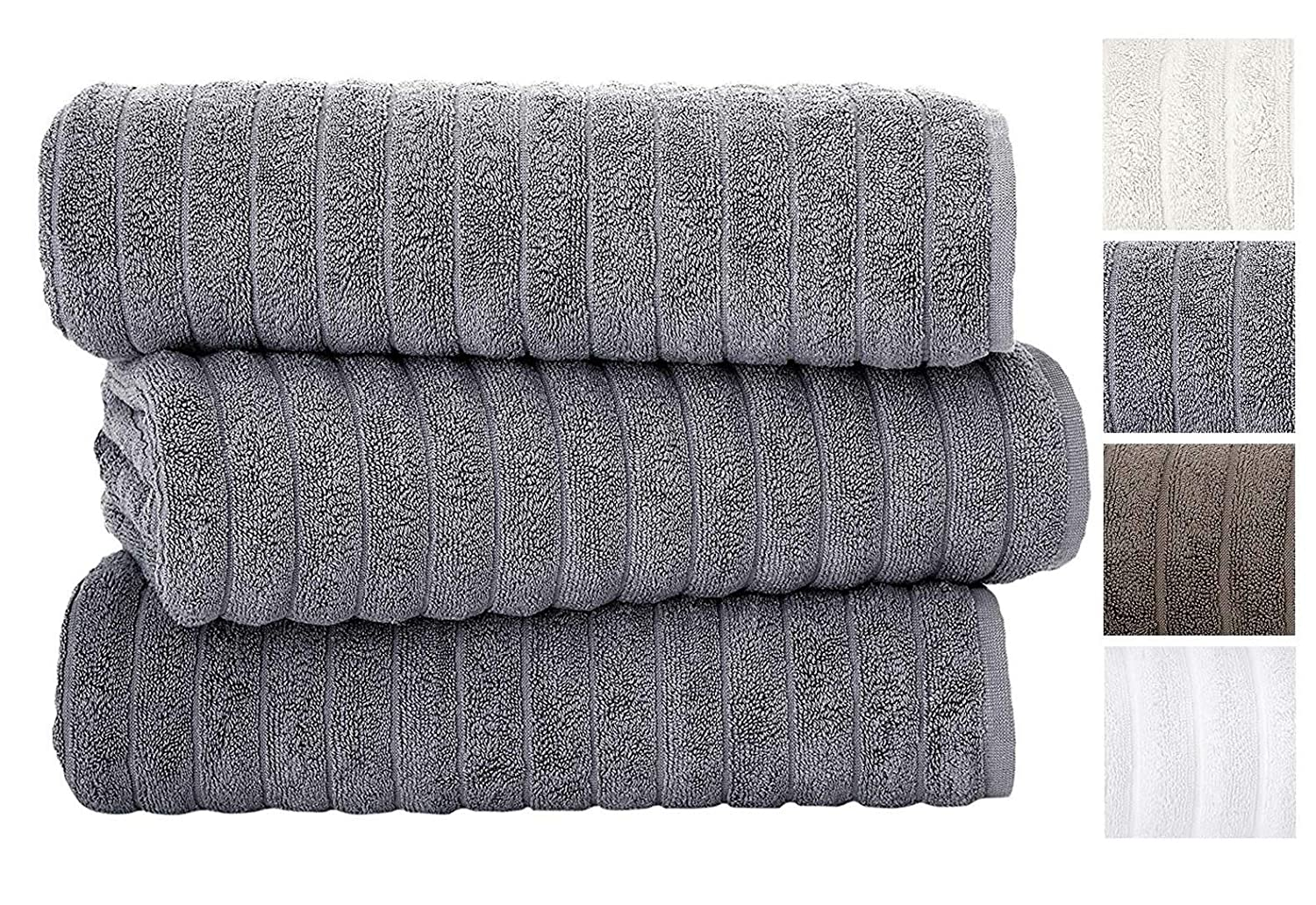 Classic Turkish Towels 3 Piece Luxury Bath Sheet Set - 40 x 65 Inch Soft and Thick Oversized Bathroom Towels Made with 100% Turkish Cotton (Grey) ClassicTurkishTowels