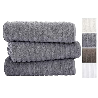 Classic Turkish Towels 3 Piece Luxury Bath Sheet Set - 40 x 65 Inch Soft and Thick Oversized Bathroom Towels Made with 100% Turkish Cotton (Grey)