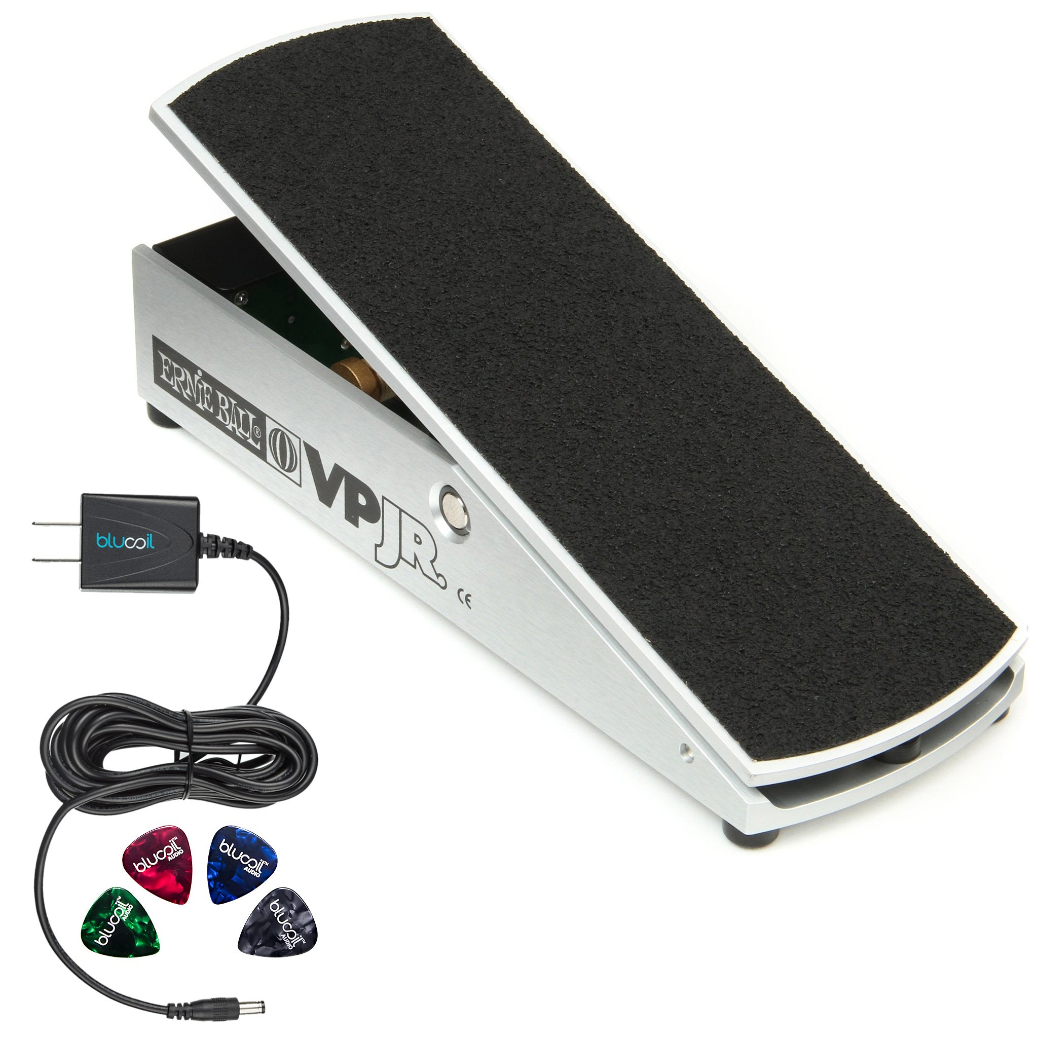 Ernie Ball VP Jr. 25K Volume Pedal - Mono for Active Electronics, 6181 - INCLUDES- Blucoil Power Supply AC/DC Adapter for 9 Volt DC 670mA AND 4 Pack of Guitar Picks
