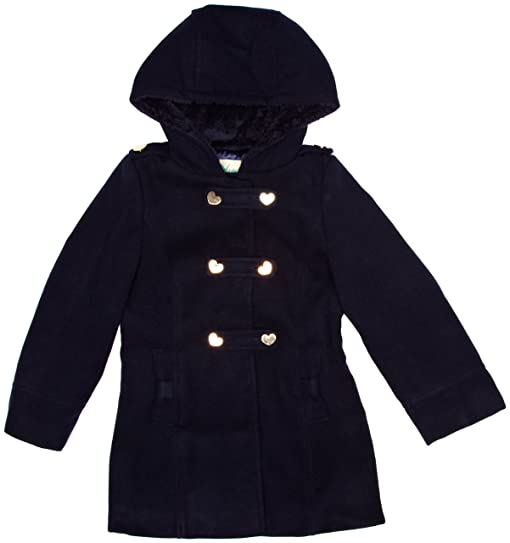 YUMI GIRLS Tab Duffle Single Breasted Girl's Coat Navy 7-8 Years ...