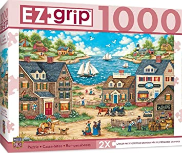 Amazon.com: MasterPieces EZ Grip Mr. Wiggins Whirligigs Large EZ Grip Jigsaw Puzzle by Bonnie White, 1000-Piece: Toys & Games