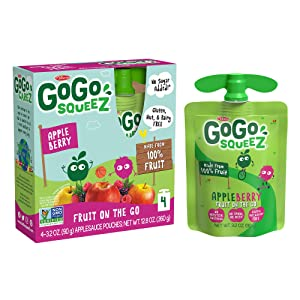 GoGo squeeZ Applesauce, Apple Berry, 3.2 Ounce (4 Pouches), Gluten Free, Vegan Friendly, Unsweetened Applesauce, Recloseable, BPA Free Pouches