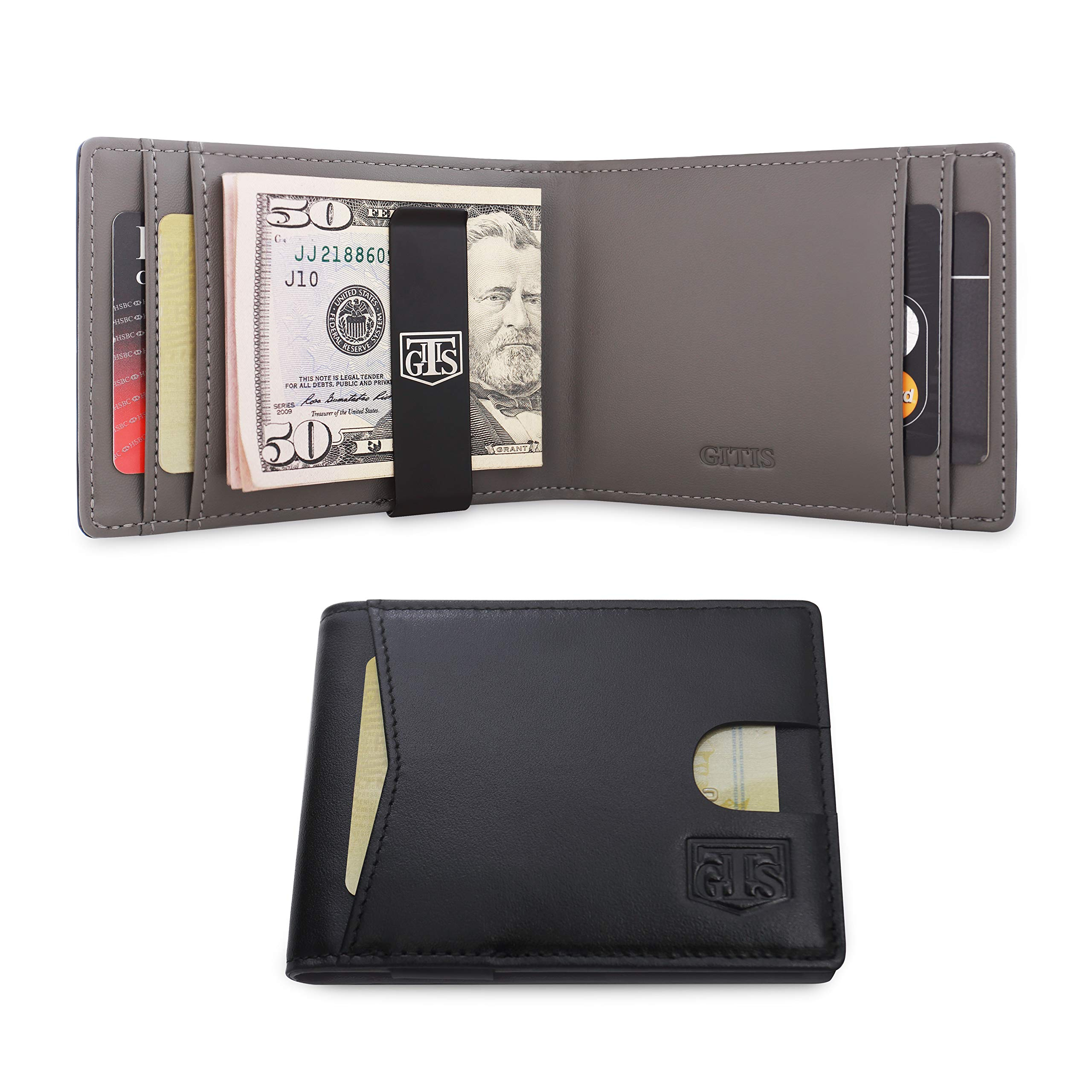 Slim Wallets for Men - GITIS - Bifold Genuine Leather RFID Blocking Wallet for Men with Money Clip & Gift Box (Black)