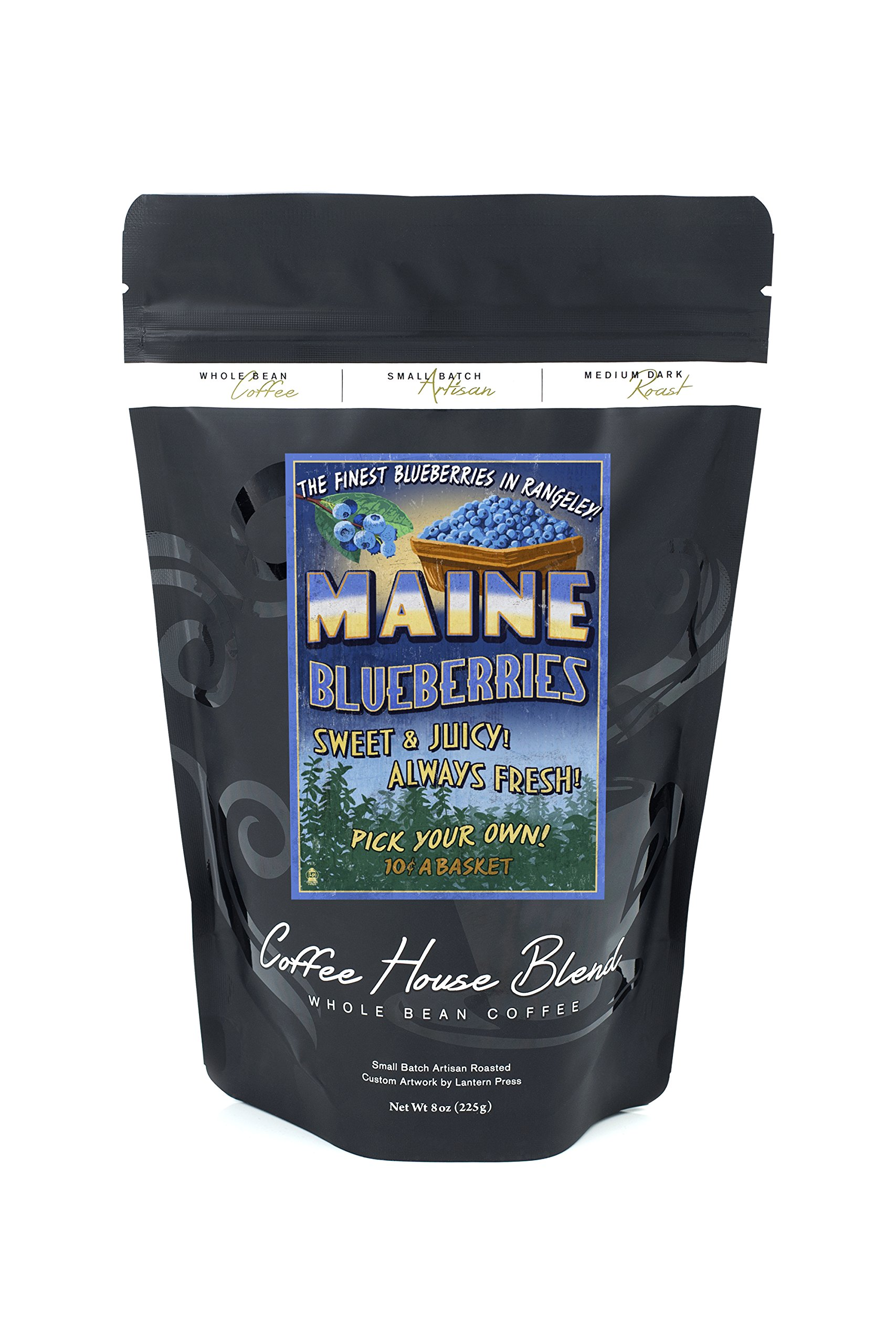 Rangeley, Maine - Blueberry Farm - Vintage Sign (8oz Whole Bean Small Batch Artisan Coffee - Bold & Strong Medium Dark Roast w/ Artwork)