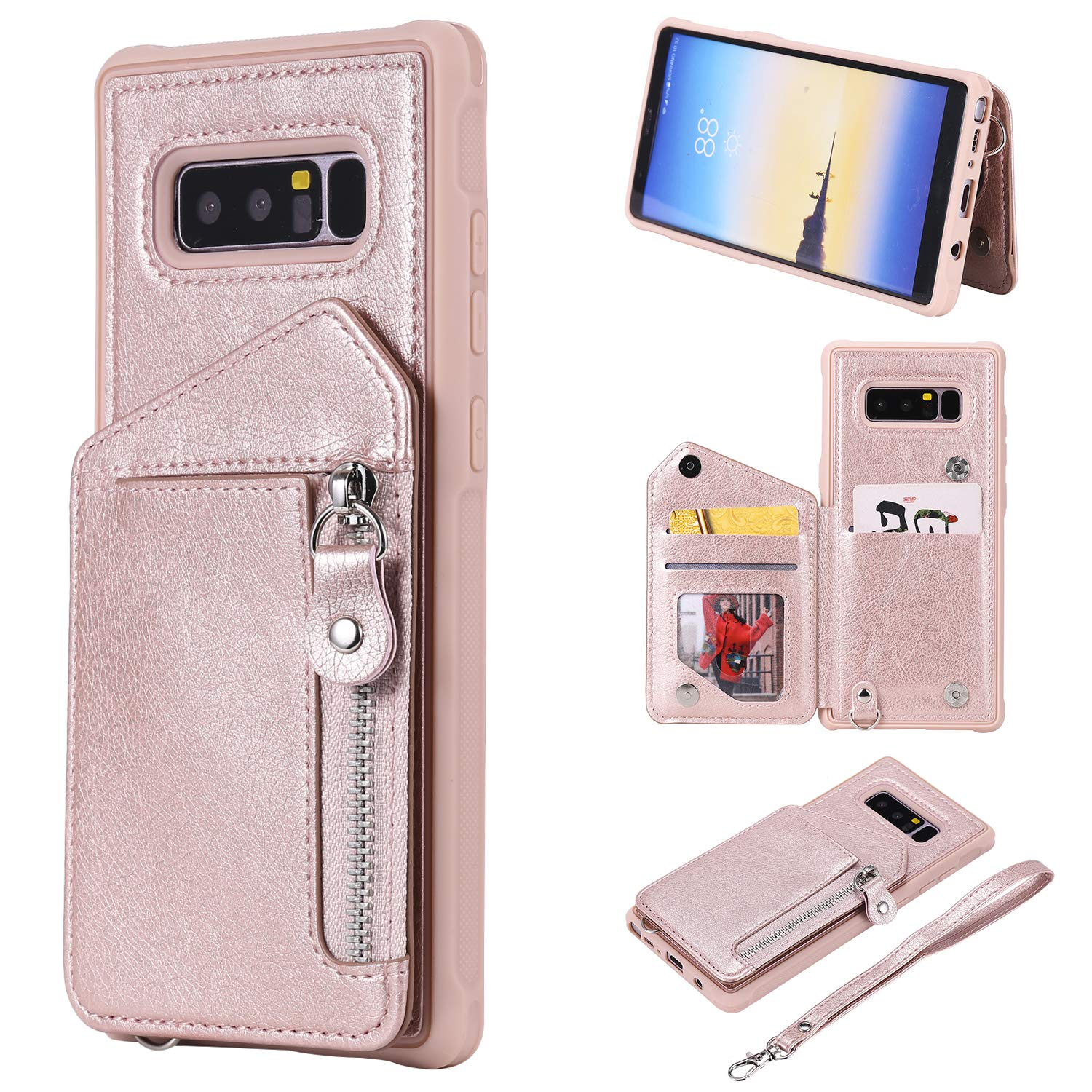 DAMONDY Case for Galaxy Note 8, Zipper Wallet Purse Card Holders Design Cover Soft Shockproof Bumper Folio Flip Leather Kickstand Clasp Wrist Strap Case for Samsung Galaxy Note 8 (2017)-Rose Gold by DAMONDY
