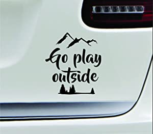 ExpressDecor Go Play Outside Mountains Hiking Camping Adventure Outdoor Computer Laptop Symbol Decal Family Love Car Truck Sticker Window (Black)