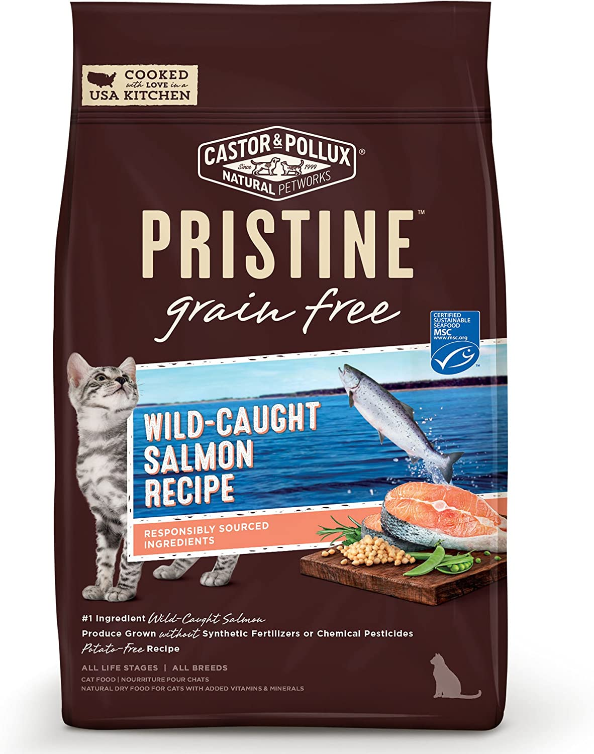 Castor & Pollux Pristine Grain Free Dry Cat Food Wild Caught or Free Range Recipe