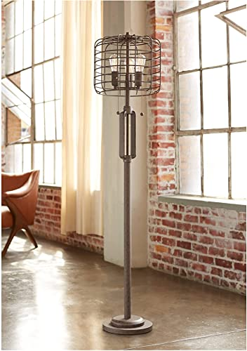 Industrial Floor Lamp Rustic Bronze Open Metal Cage 3-Light Antique LED Edison Bulbs Dimmable