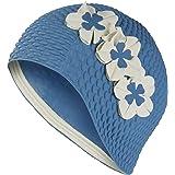 3 Flower Ladies Blue Swim Hat Swimming Hat Bathing Cap Vintage Retro by Fine Saratoga