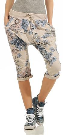 Turnschuhe 2018 2020 Factory Outlets Mississhop Damen Capri Hose Haremshose Ballonhose Pluderhose Pumphose  Aladinhose Sommerhose Blumen Print Muster Baggy Pants 3/4
