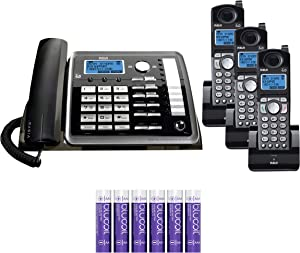 RCA 25255RE2 (25055RE1, 25254) 2-Line Phone System with Answering System - Corded Speakerphone and Wireless Handset Bundle with 2-Pack of 25055RE1 6.0 Cordless Handsets, Blucoil 6 AAA Batteries