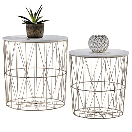 Your Home 2 Metal Wire Coffee Tables Geometric Design Occasional Side Table With Round Removable Top For Storage Rose Gold