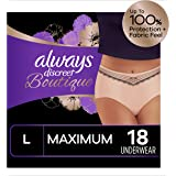 Always Discreet Boutique Incontinence Underwear for Women, Maximum Protection, Peach, Large, 18 Count, Packaging May Vary