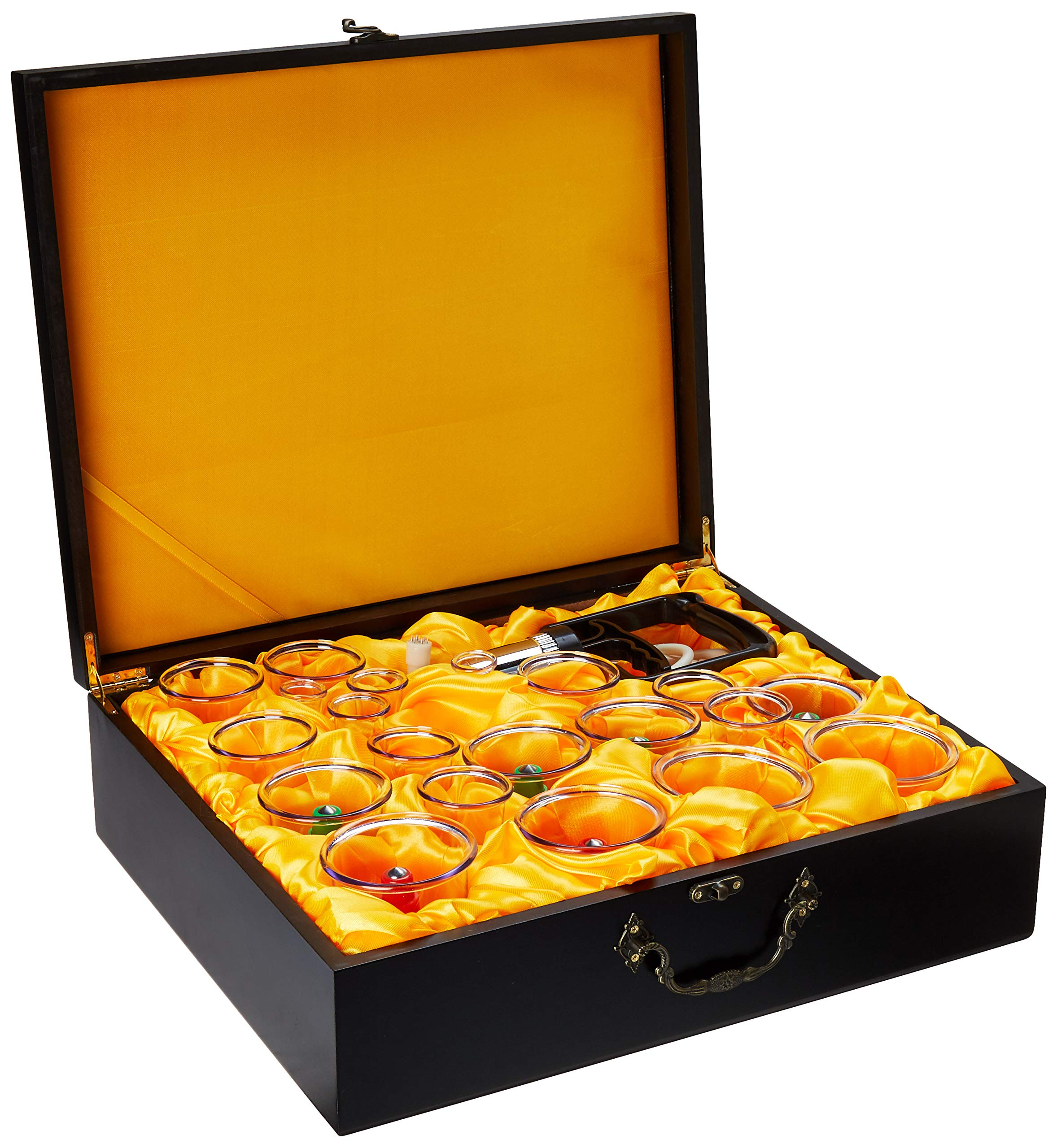 Oriental Wooden Box Cupping Therapy Set with 24 Cups, Pumping Handel, Extension Tube and English Manual