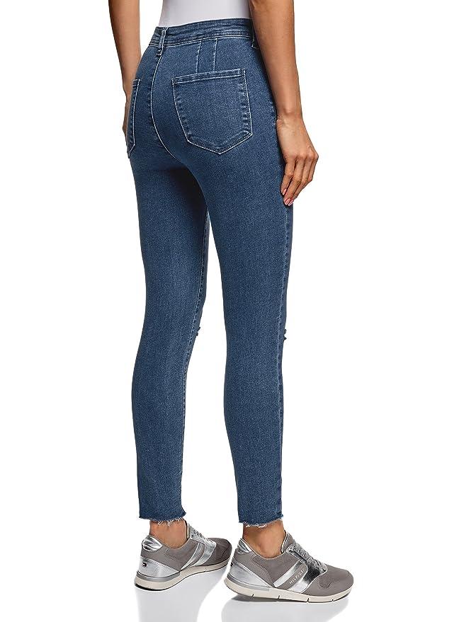 oodji Ultra Femme Jean Skinny avec Découpes aux Genoux, Bleu, 30W   30L  (FR44   XL)  Amazon.fr  Vêtements et accessoires cd7e7ea5f9d4