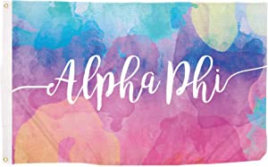 Alpha Phi Water Color Sorority Flag Greek Letter Banner Large 3 feet x 5 feet Sign Decor A Phi (Flag - Water Color)