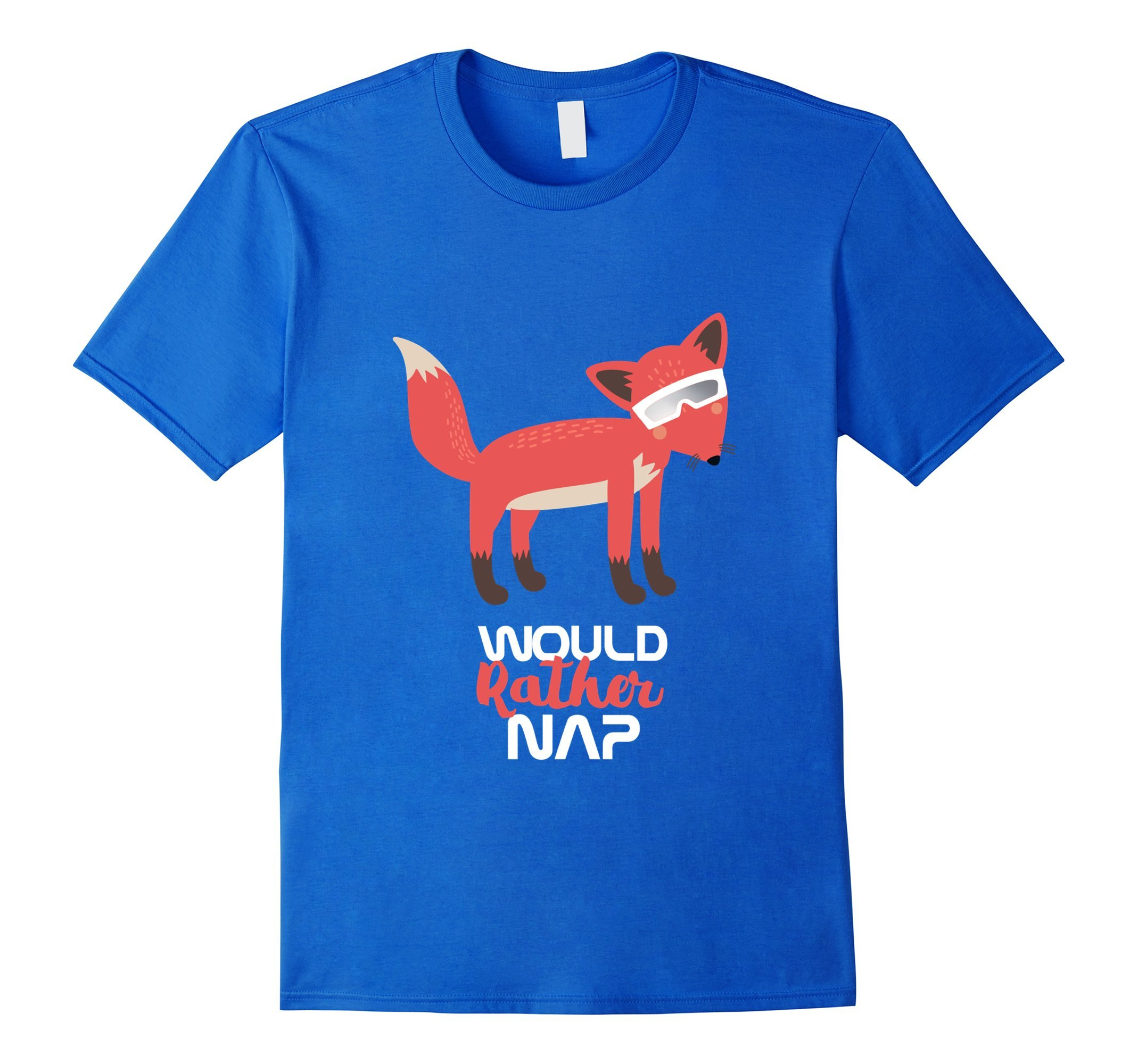 Mens Would Rather Nap Fox Total Eclipse - August 2017 Gift Large Royal Blue