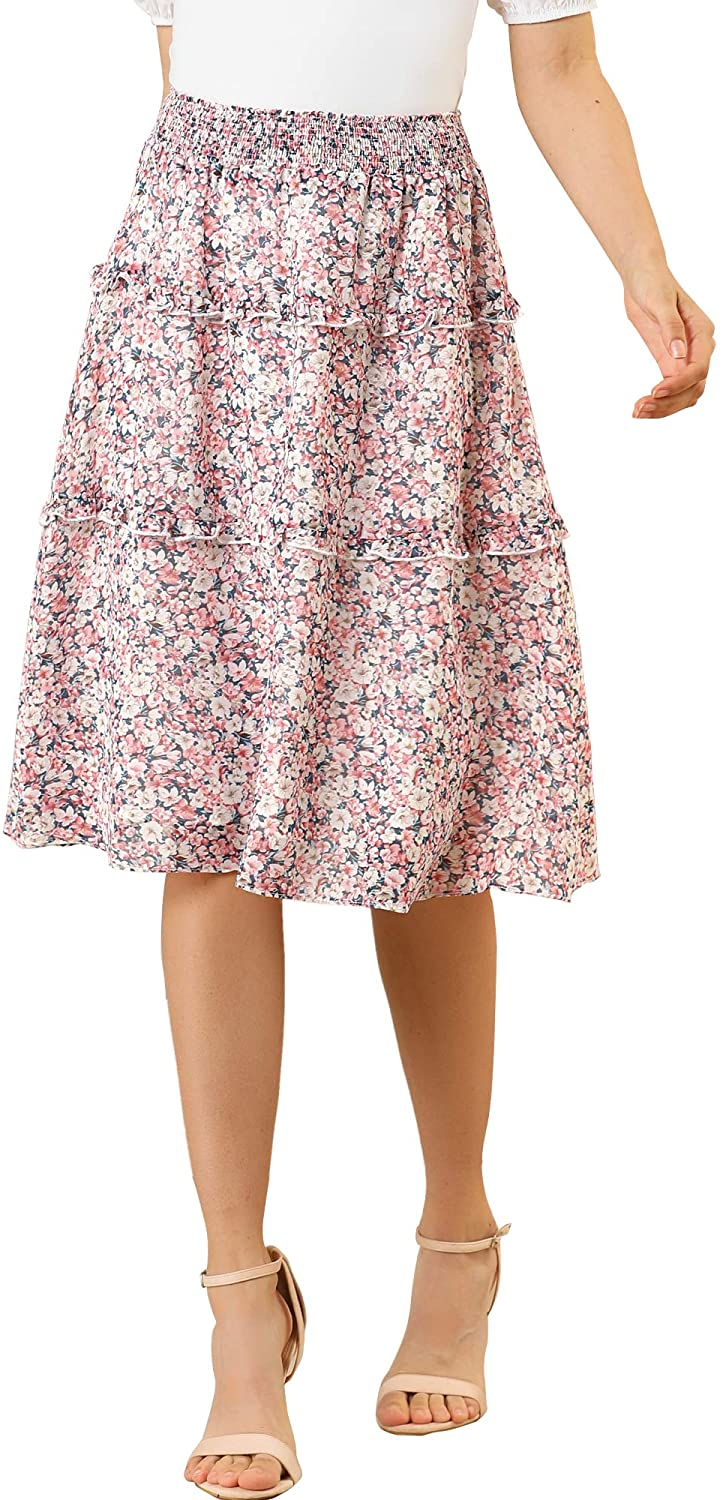 Vintage Skirts | Retro, Pencil, Swing, Boho Allegra K Womens Floral Print Skirts Smocked Elastic Waist Knee Length Flowy Tiered Ruffle Skirt $24.99 AT vintagedancer.com