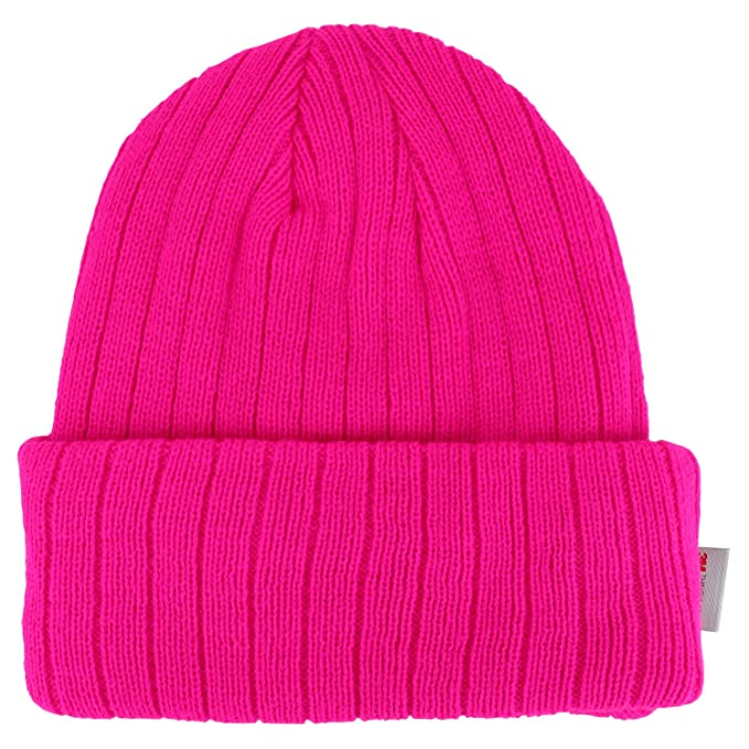 18703422064c9 Trendy Apparel Shop High Visibility Neon Colored 3M Thinsulate Long Cuff  Winter Beanie - HOT Pink