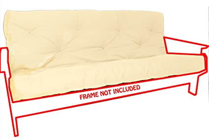 Royal Sleep Products Futon Mattress Solid Cover 8 Layer Factory Direct Made in The USA (Ivory, Full)