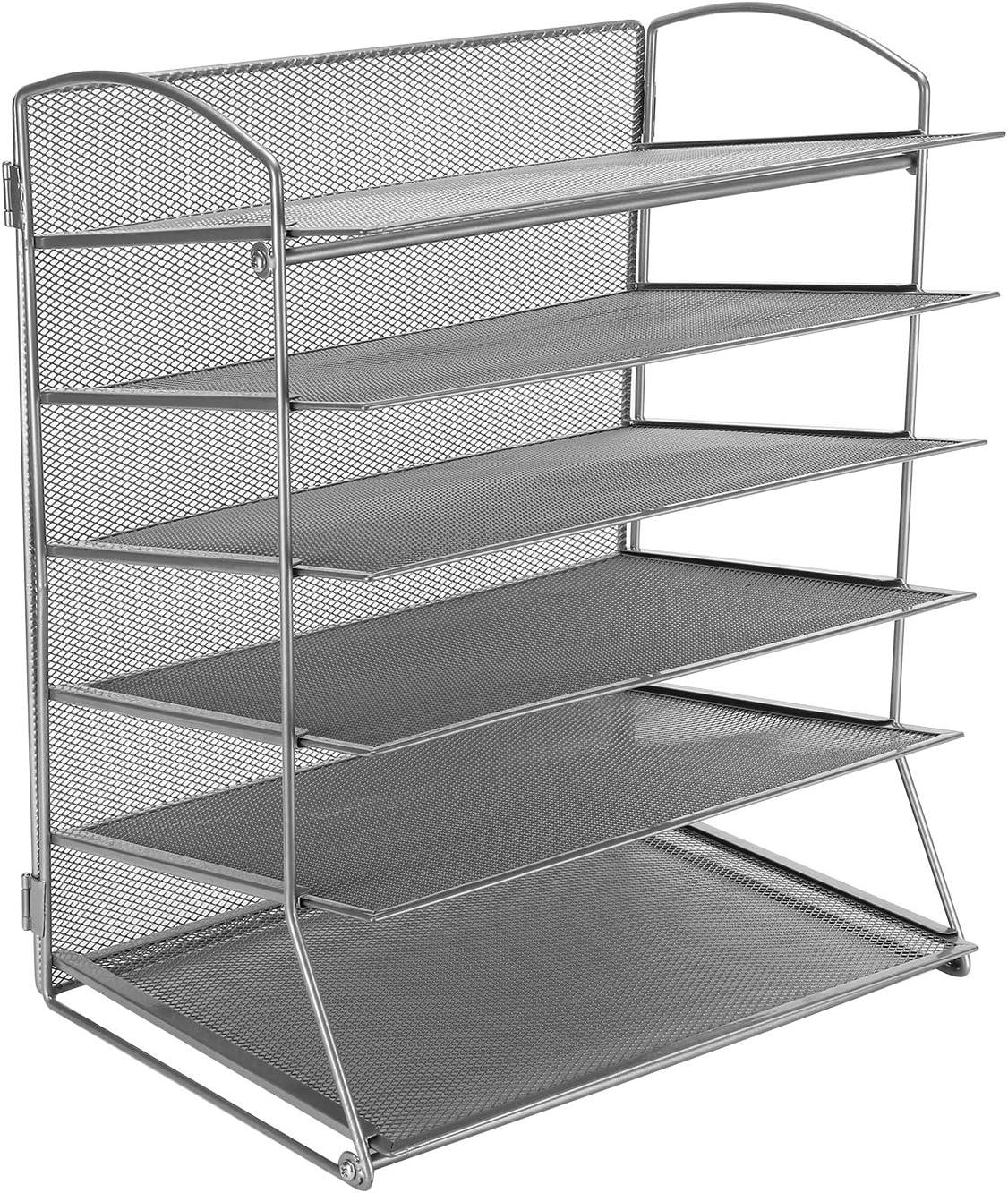 CLATINA 6-Tier Metal Mesh Desk File Organizer Desktop Letter Tray Paper Document Holder for Office Home School Gray