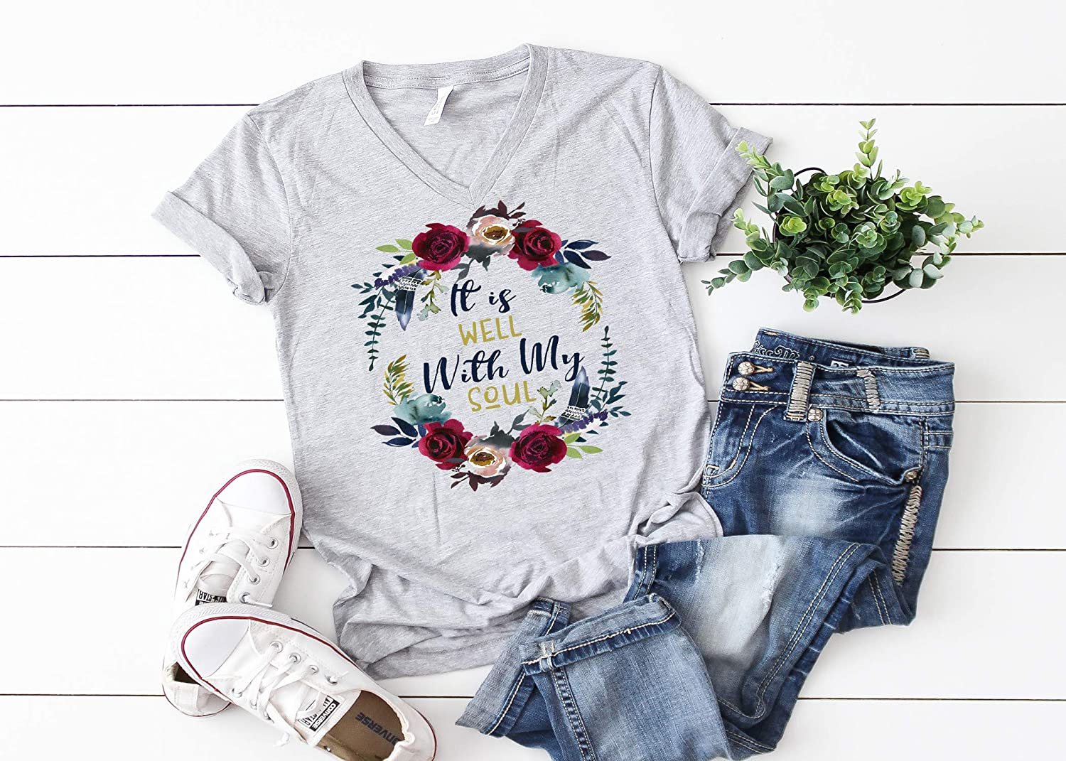 It Is Well With My Soul Women/'s T shirts Womens Tees Ladies T Shirt Womens Shirts Mom Shirts Mom Gift Mothers Day Shirts Shirts for Mom