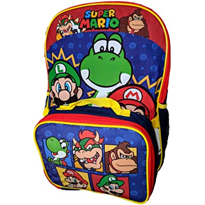 Nintendo Super Mario and Co. 16 Inch Backpack with Insulated Lunch Box | Kids' Backpacks