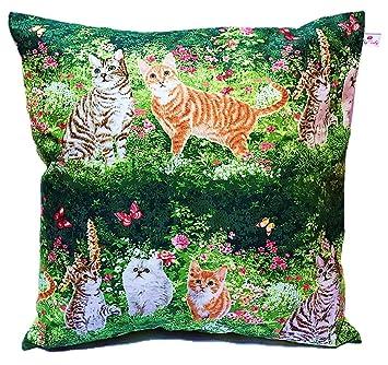 TryPinky - ® Funda de cojín (50 x 50 cm Gatos en la Hierba Puntos Verde Almohada para cojín 100% algodón Gato Manta Cojín de niños: Amazon.es: Hogar
