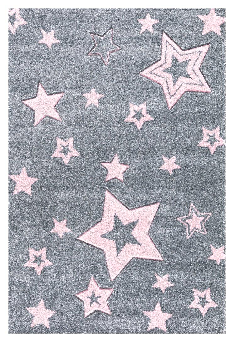 Kinderteppich Love Rugs Starlight grau rosa 100 x 160 cm