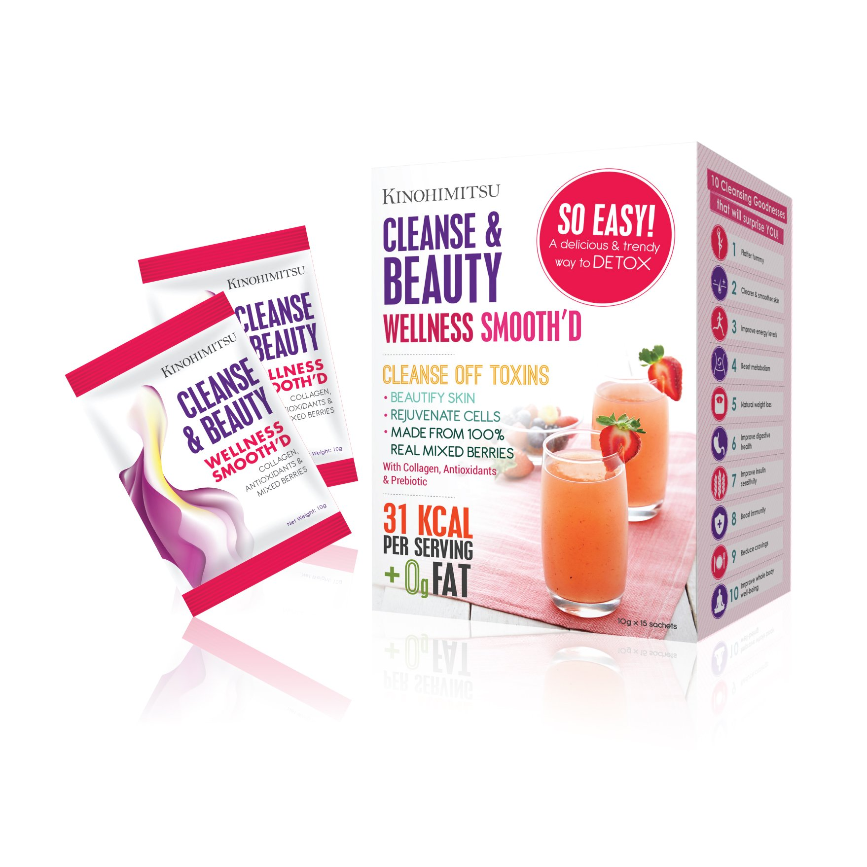 Kinohimitsu Wellness Smooth'D Cleanse & Beauty 15's - Flatter tummy - Natural weight loss -
