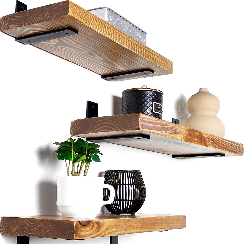 Rustic Wood Floating Shelves - Wooden 3 Tier Wall Shelf - Natural Pine, Oil Finish, Farmhouse Shelfs Wall Mounted for Bathroom Kitchen Bedroom Living Room, Set of 3 (Oak, 17
