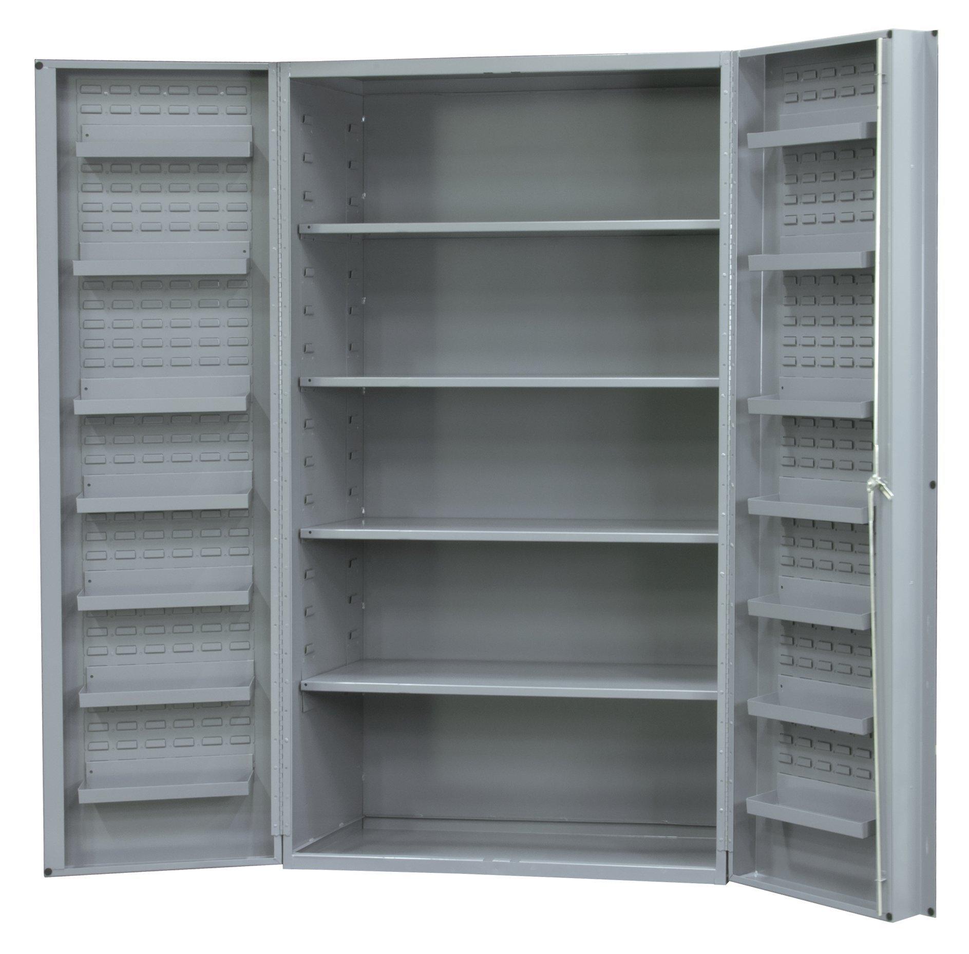 Durham Heavy Duty Welded 14 Gauge Steel Cabinet with 14 Door Shelves, DC48-4S14DS-95, 700 lbs Capacity, 24'' Length x 48'' Width x 78'' Height, 4 Shelves