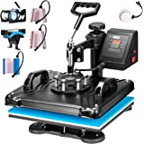 VIVOHOME 8 in 1 Combo Multifunctional Swing Away Clamshell Printing Sublimation Heat Press Transfer Machine for T-Shirt Hat C