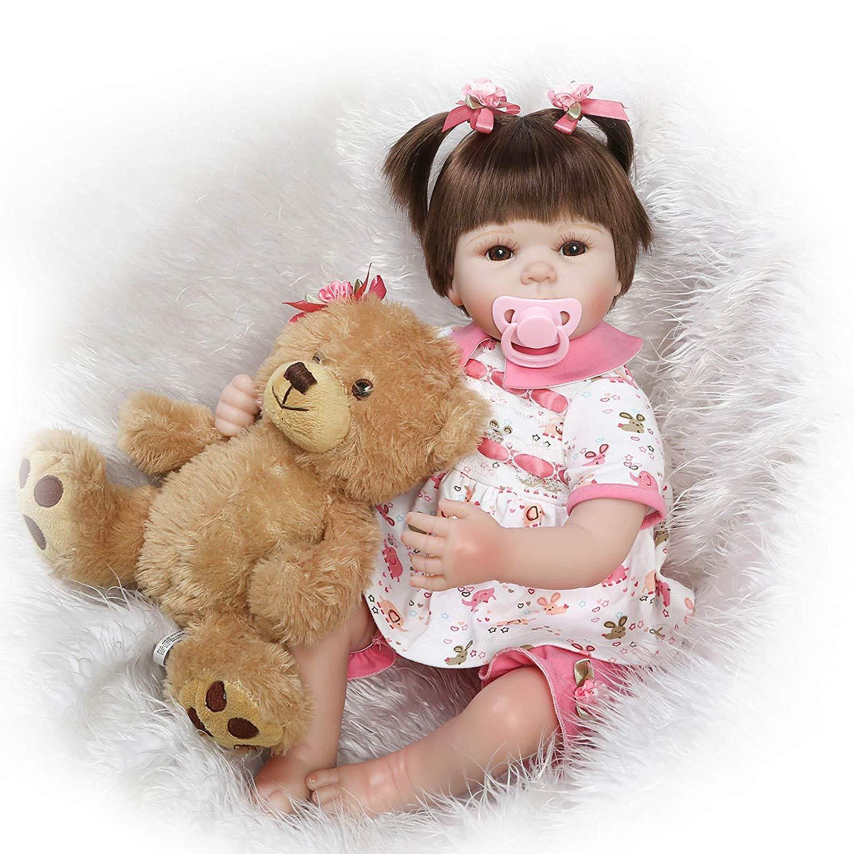 396a8e85 MGF Reborn bebé niña, 22 22 22 Pulgadas de Vinilo de Silicona Suave Reborn  bebé con Oso 1a1358