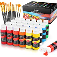 Caliart Acrylic Paint Set with 12 Brushes for Canvas Ceramic Wood Halloween Pumpkin Rock Painting, Craft Acrylic Paints…