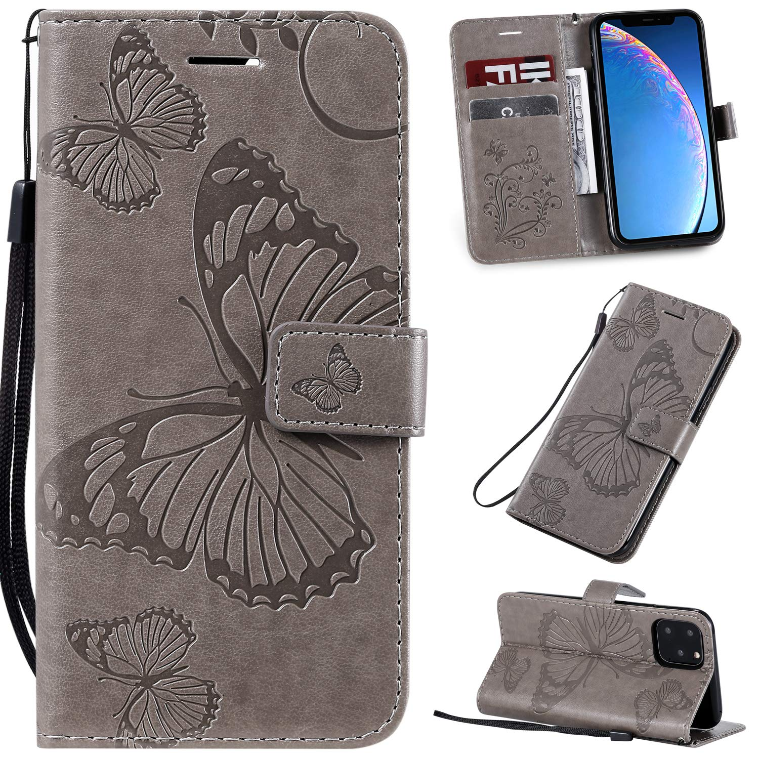 Tznzxm iPhone XI 2019 Case,iPhone 11 Pro Wallet,3D Embossed Butterfly PU Leather Magnetic Wallet Protective Flip Kickstand Cover with Credit Card Slots and Wrist Wallet for iPhone 11 Pro 5.8'' Grey by Tznzxm