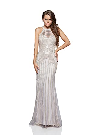 MILANO FORMALS Illusion-Neck Long Beaded Open Back Evening Dress