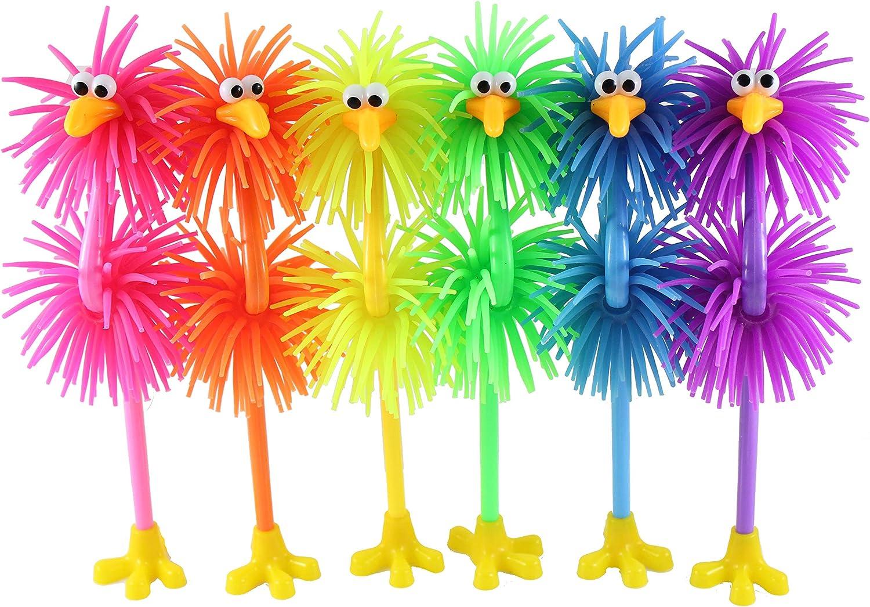 Curious Minds Busy Bags Set of 6 Cute Bird Puffer Pen - Fun Hairy Office School Fidget Pens - Anxiety ADHD - Bird Lover Gift