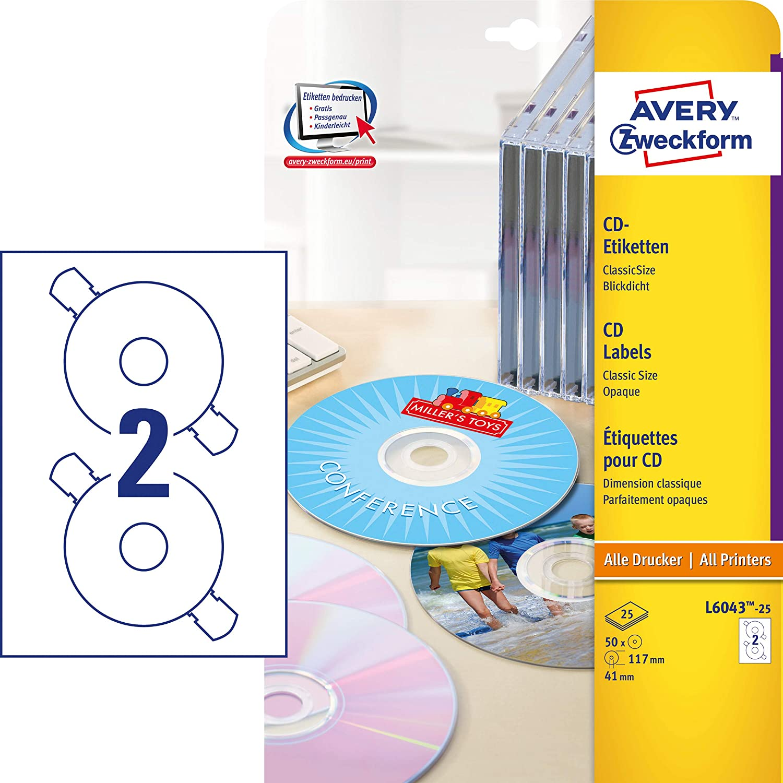 AVERY Zweckform L6043 10 Blatt =20 CD-Etiketten ClassicSize Blickdicht Ø 117 mm