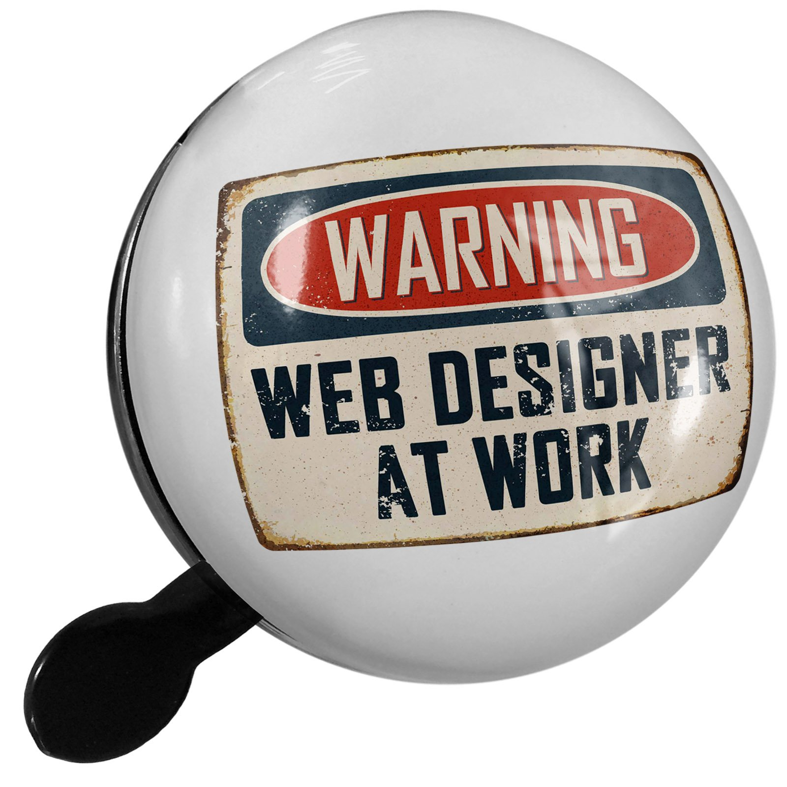 Small Bike Bell Warning Web Designer At Work Vintage Fun Job Sign - NEONBLOND