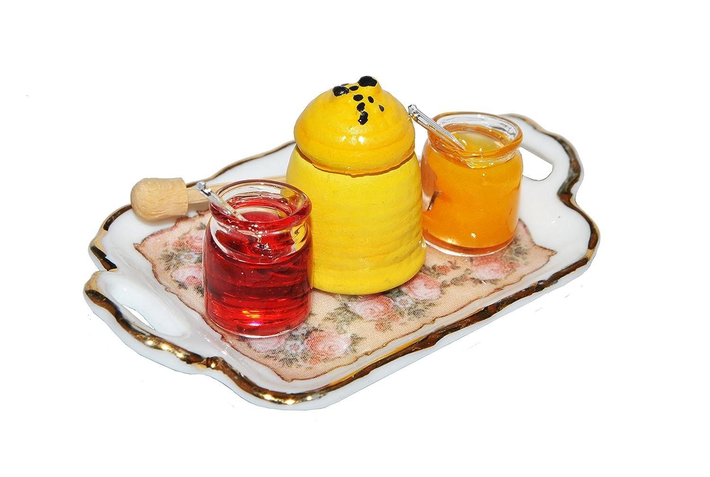 f/ür Puppenstube Puppenhaus K/üche Honigl/öffel Ma/ßstab 1:12 Porzellan // Kermik Unbekannt Set: Miniatur Honig und Marmelade Tablett Reutter