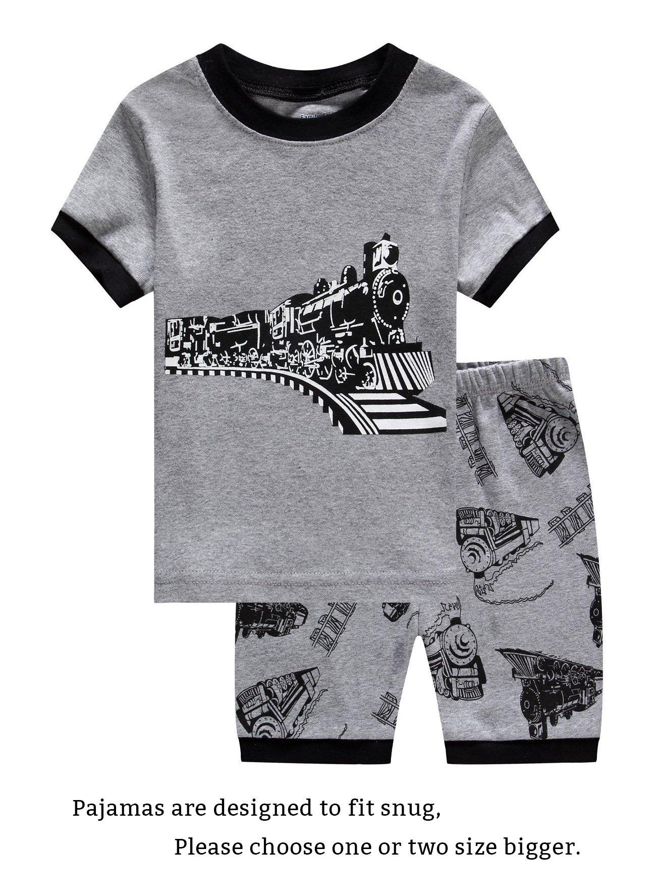 Family Feeling Train Big Boys Shorts Set Pajamas 100% Cotton Clothes Kids 8
