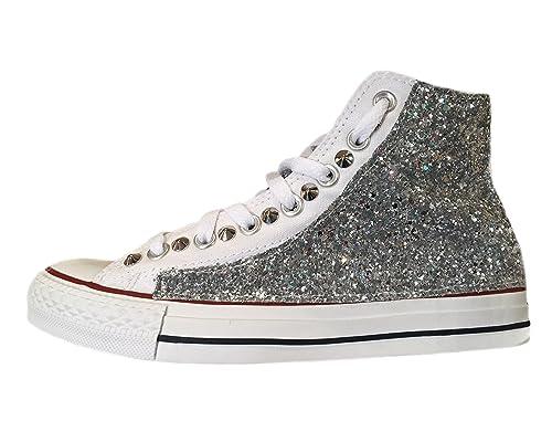 Converse all Star con Applicazione Stelle Glitter Argento