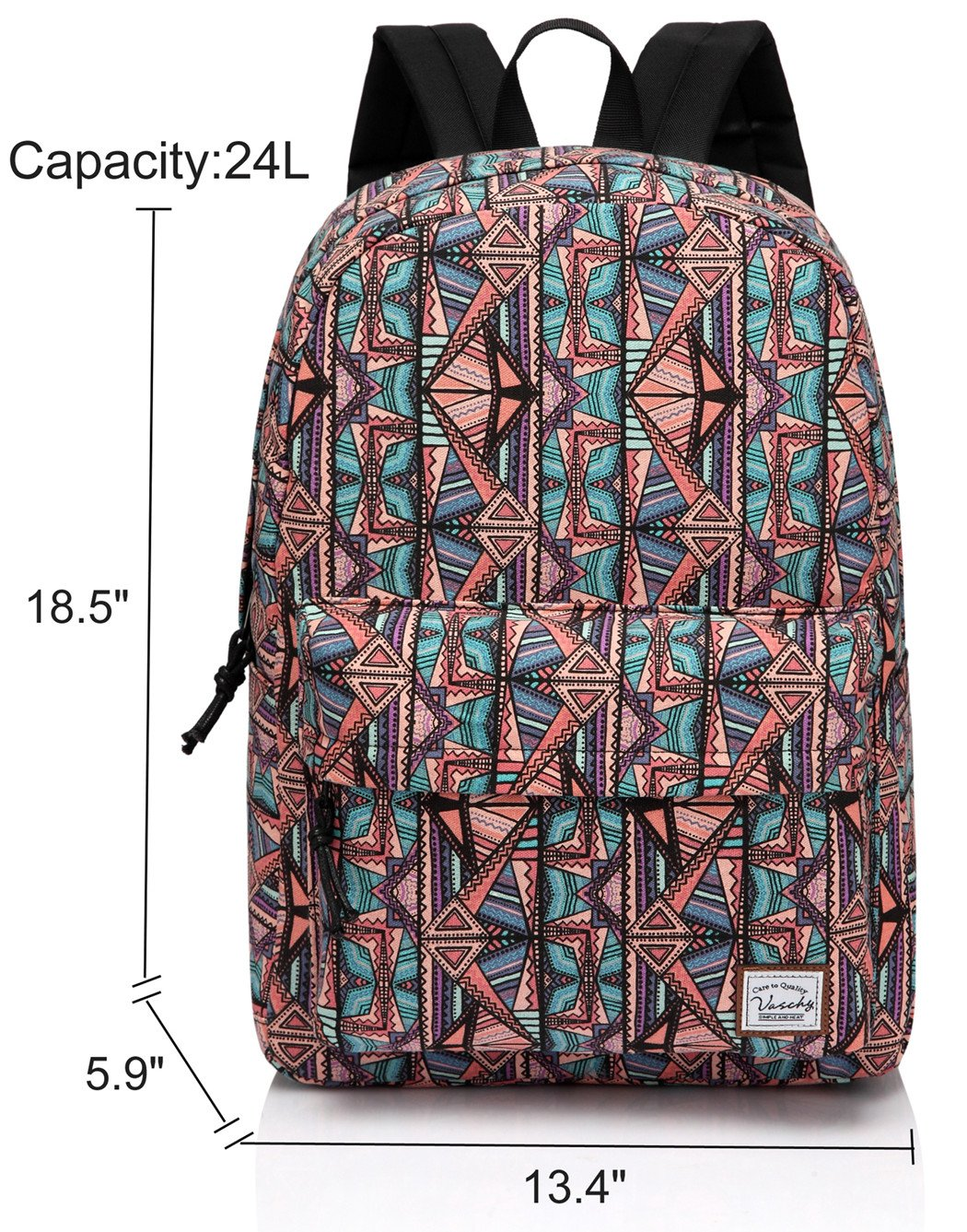 School Backpack for Teen Girls,Fashion Canvas Rucksack BookBag with Padded Laptop Sleeve by Vaschy (Image #2)
