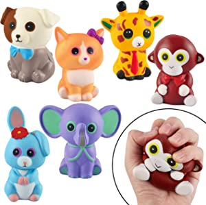 JOYIN 6 Pack Jumbo Size Squishy Animal Toy Slow Rising Stress Relief Super Soft Squeeze Kawaii Cute Animal Friends Toys for Boys Girls