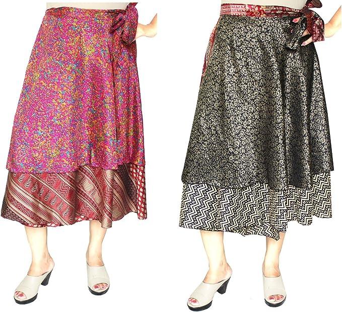 MapleClothing Al por Mayor 2 Pcs Dos Capas Las Mujeres Sari India ...