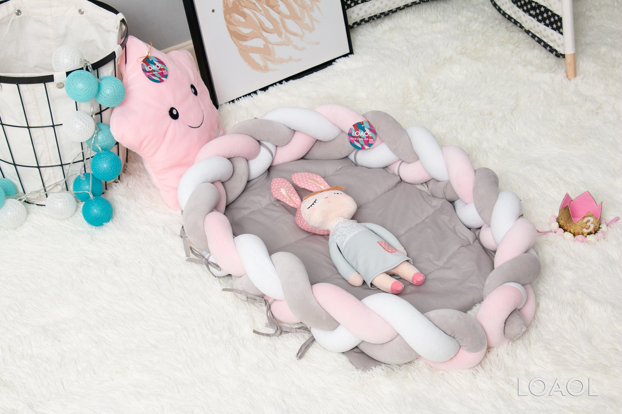 LOAOL Baby Crib Nest Bed Newborn Lounger Sleeper Knotted Braided Infant Nursery Decor Cradle Bumper (White-Gray-Pink, 17.7'' x 23.6'') by LOAOL (Image #4)