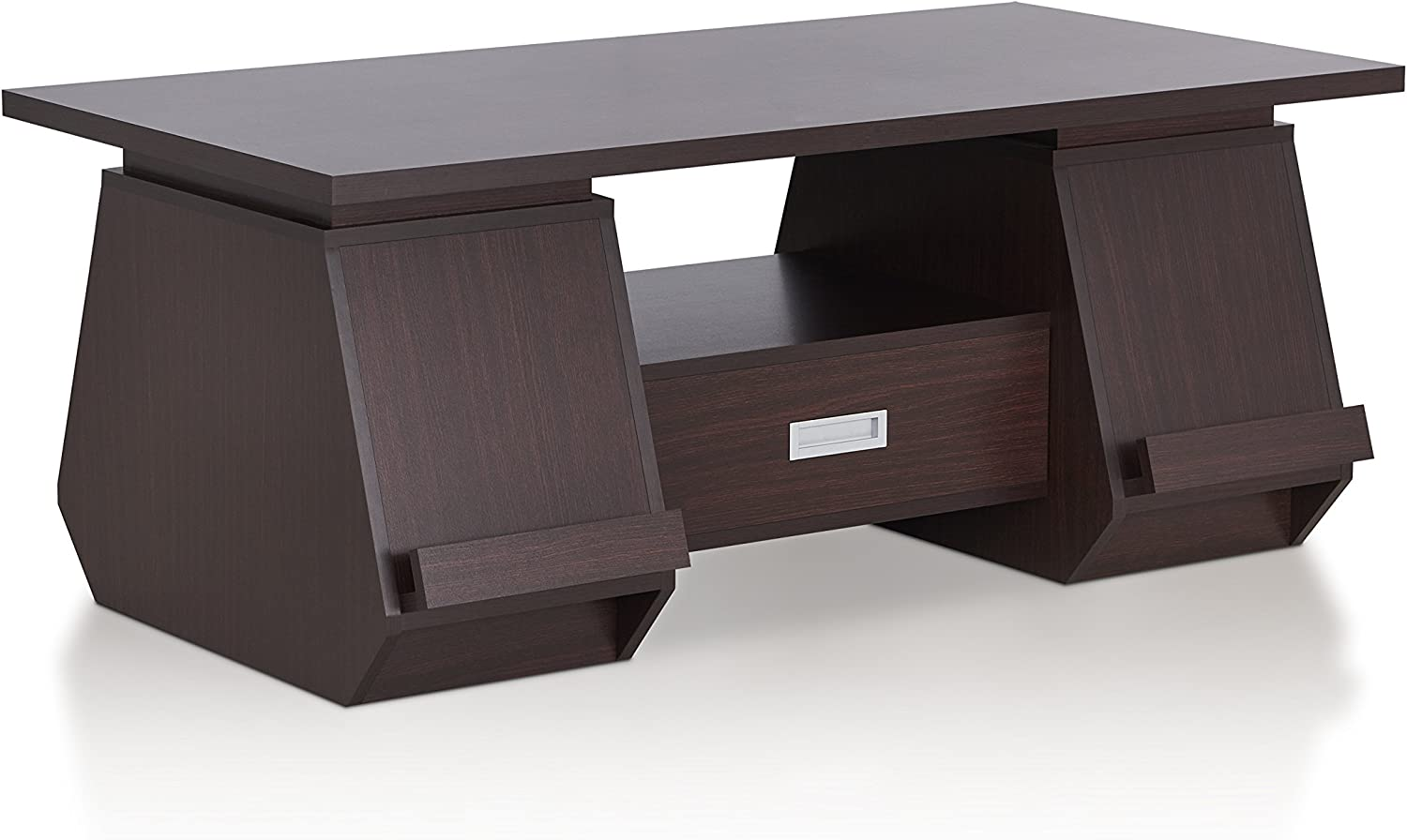 Furniture of America Tudora Contemporary Wood Coffee Table with 2-Side Cabinet, Walnut